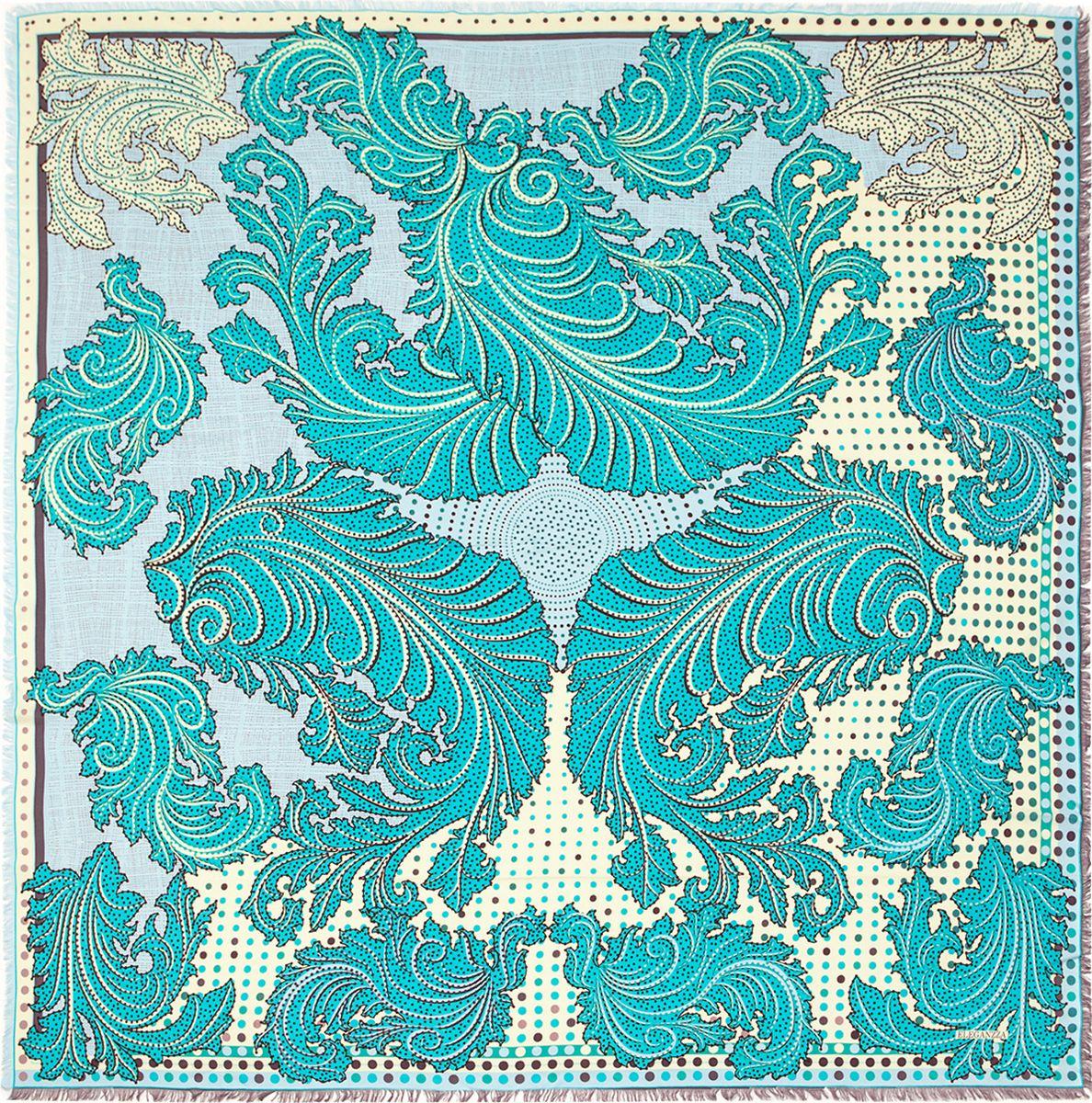 ПлатокD34-1203Платок Eleganzza, выполненный из вискозы и шелка, идеально дополнит образ современной женщины. Модель оформлена принтом с узорами. Классическая квадратная форма позволяет носить платок на шее, украшать им прическу или декорировать сумочку. С таким замечательным аксессуаром вы всегда будете выглядеть женственно и привлекательно.