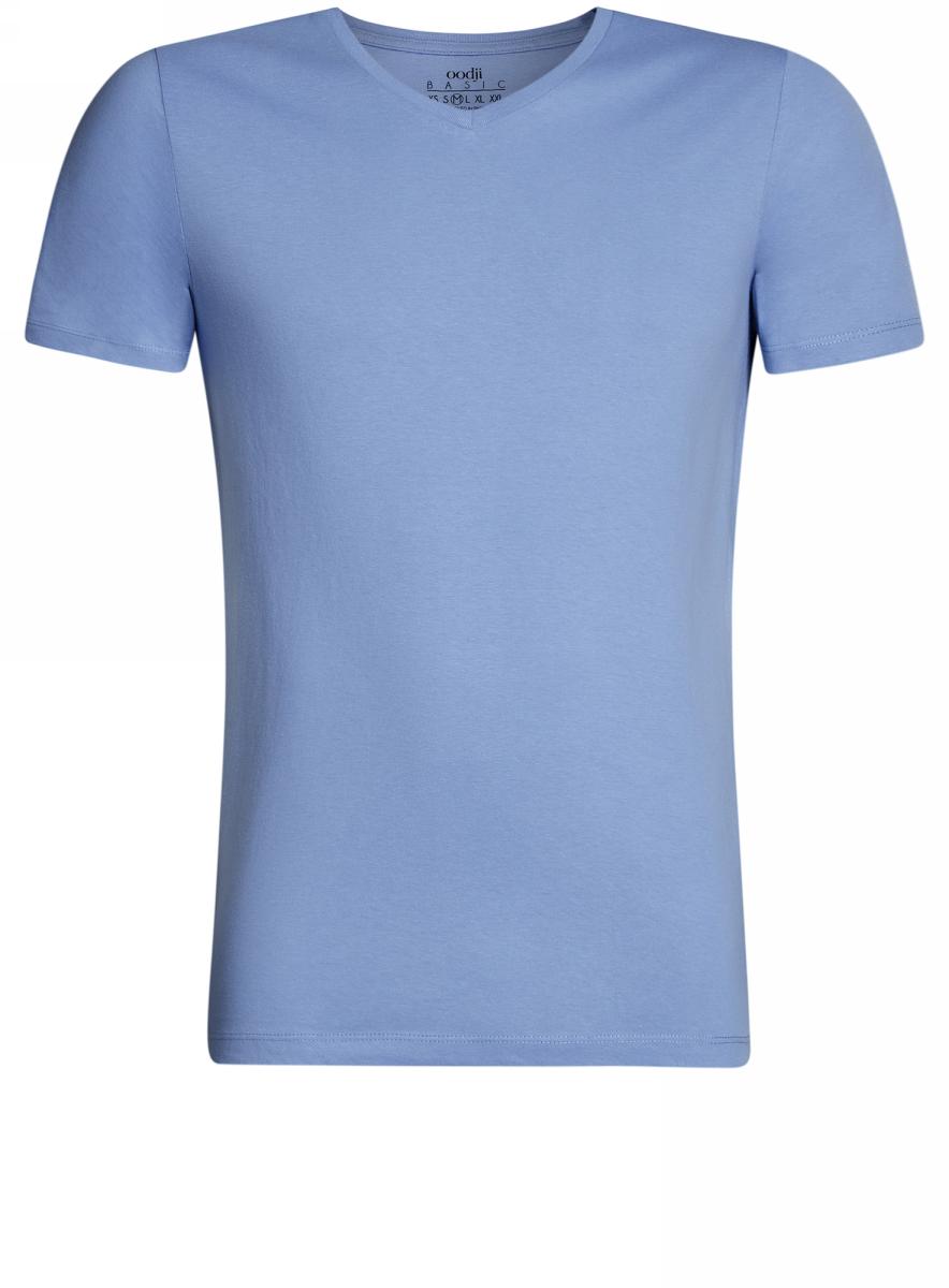 Футболка мужская oodji Basic, цвет: голубой. 5B612001M/44135N/7000N. Размер S (46/48)5B612001M/44135N/7000NБазовая футболка с V-образным вырезом горловины и короткими рукавами выполнена из натурального хлопка.