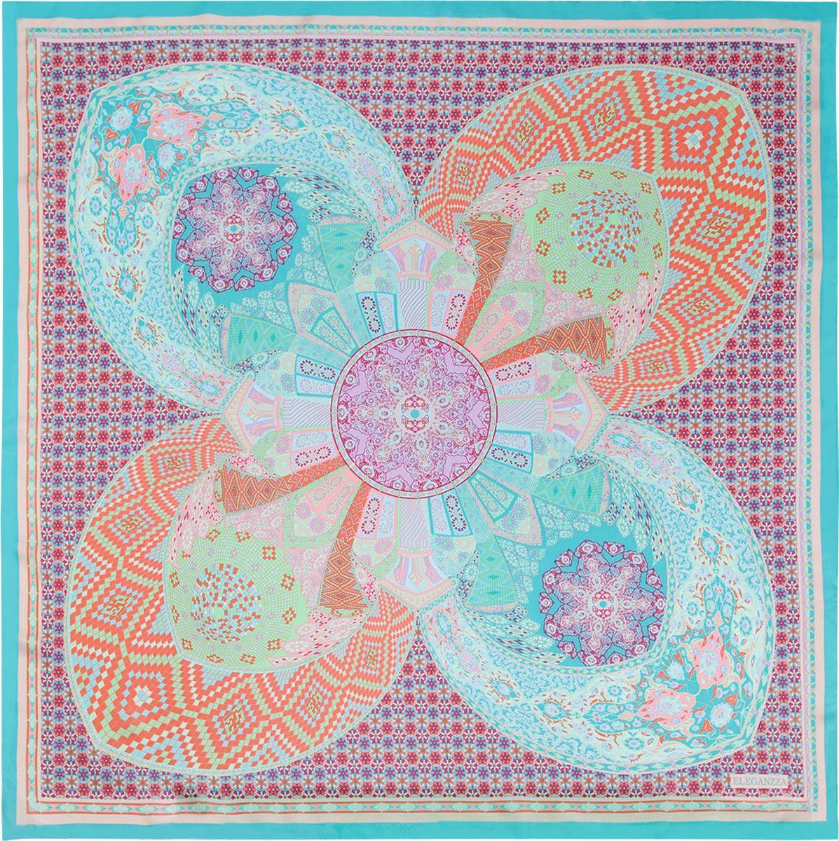 Платок женский Eleganzza, цвет: голубой, салатовый, оранжевый. E03-7095. Размер 90 см х 90 смE03-7095Платок Eleganzza, выполненный из шелка, идеально дополнит образ современной женщины. Модель оформлена принтом. Классическая квадратная форма позволяет носить платок на шее, украшать им прическу или декорировать сумочку. С таким замечательным аксессуаром вы всегда будете выглядеть женственно и привлекательно.