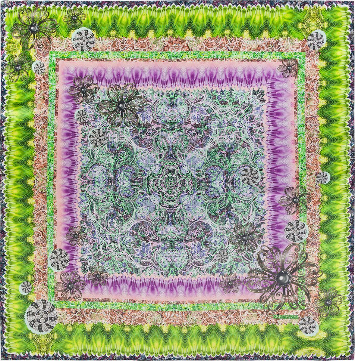 Платок женский Eleganzza, цвет: салатовый, фиолетовый. KA03-8113. Размер 90 см х 90 смKA03-8113Платок Eleganzza, выполненный из шелка, идеально дополнит образ современной женщины. Модель оформлена принтом. Классическая квадратная форма позволяет носить платок на шее, украшать им прическу или декорировать сумочку. С таким замечательным аксессуаром вы всегда будете выглядеть женственно и привлекательно.