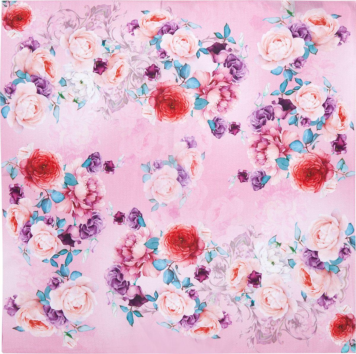 ПлатокSS03-7873Платок Eleganzza выполнен из шелка. Модель оформлена цветочным принтом. Классическая квадратная форма позволяет носить платок на шее, украшать им прическу или декорировать сумочку.