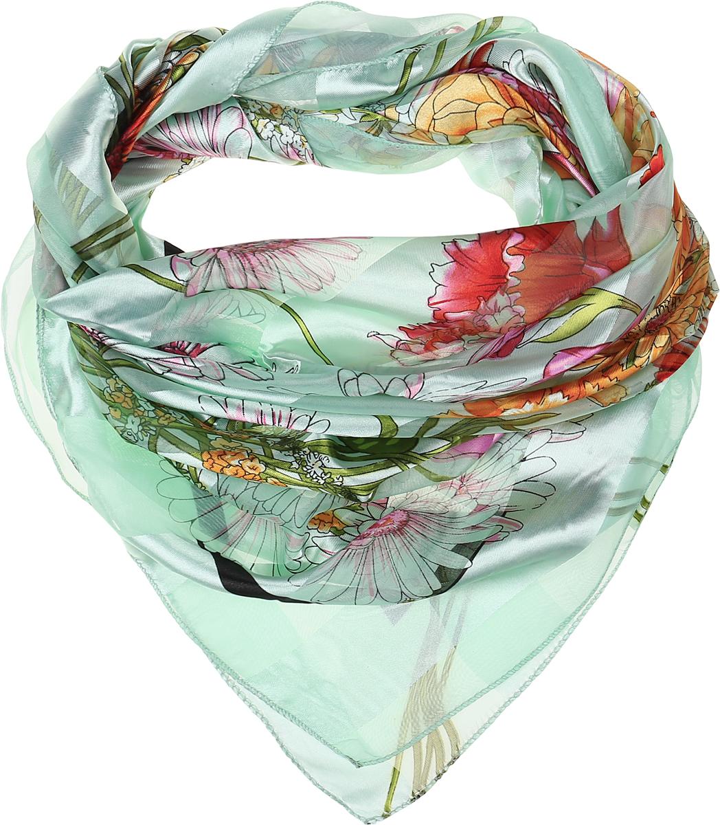 ПлатокRo0118-4-1Стильный женский платок Vittorio Richi изготовлен из высококачественного полиэстера с добавлением шелка. Платок оформлен эффектом деворе полоса и цветочным принтом. Отделка краев - оверлок.