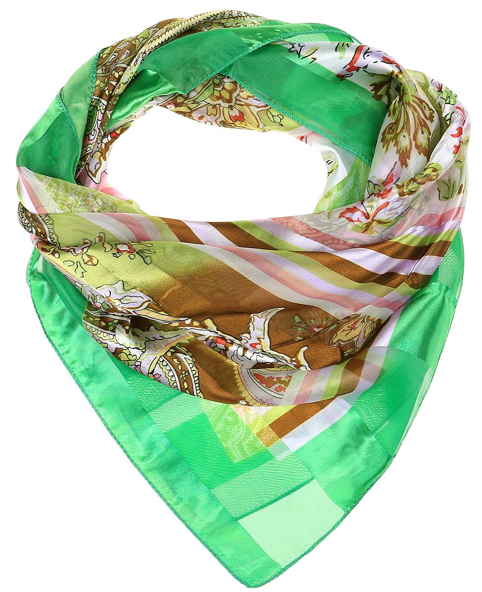 Платок женский Vittorio Richi, цвет: зеленый, коричневый, белый. Ro0118-9-6. Размер 95 см х 95 смRo0118-9-6Стильный женский платок Vittorio Richi изготовлен из высококачественного полиэстера с добавлением шелка. Платок оформлен эффектом деворе полоса и оригинальным цветочным принтом. Отделка краев - оверлок.