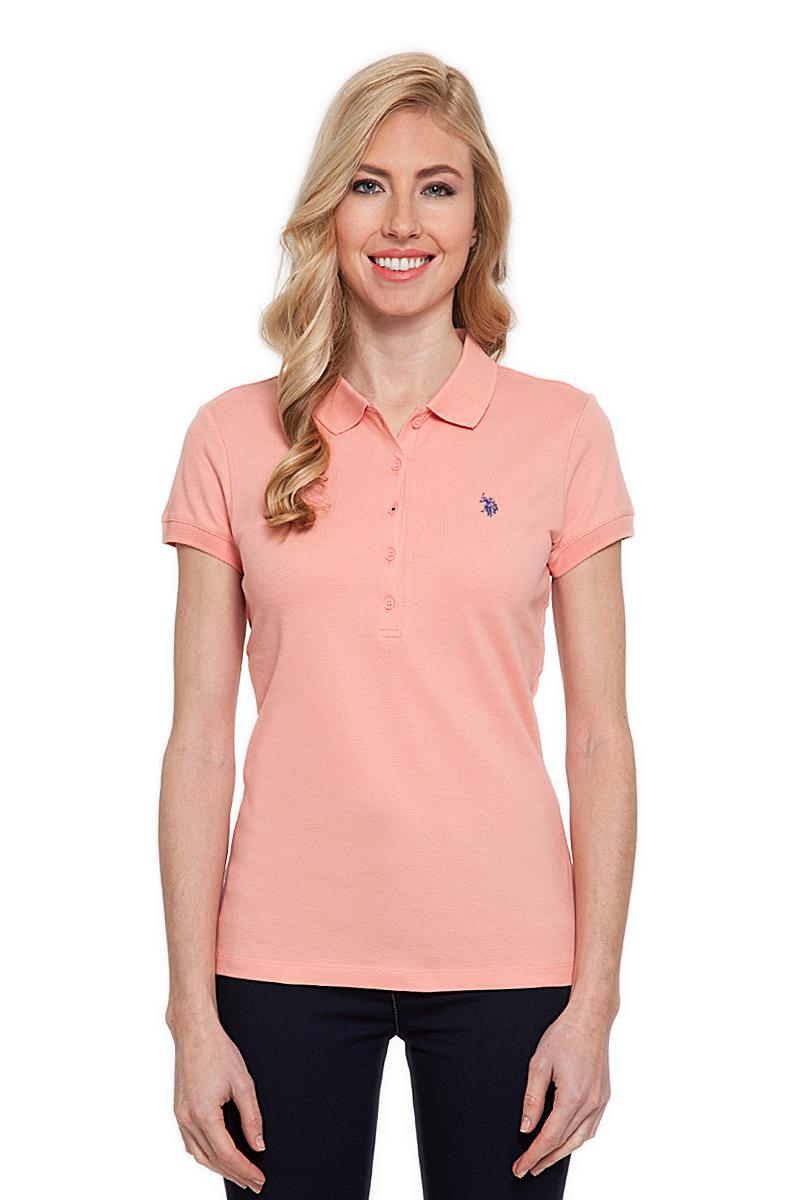 Поло женское U.S. Polo Assn., цвет: оранжевый. G082CS011P26TP01IY4. Размер M (46)G082CS011P26TP01IY4Стильная футболка-поло с короткими рукавами и отложным воротником выполнена из натурального эластичного хлопка. На груди модель застегивается на пуговицы.