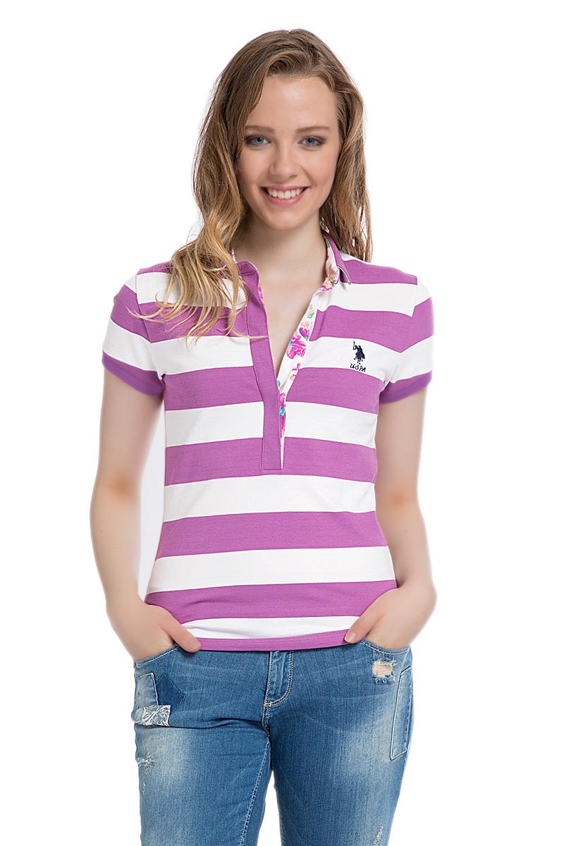 Поло женское U.S. Polo Assn., цвет: лиловый, белый. G082SZ0110MARLO. Размер XL (50)G082SZ0110MARLOСтильная футболка-поло с короткими рукавами и отложным воротником выполнена из натурального эластичного хлопка. На груди модель застегивается на пуговицы.