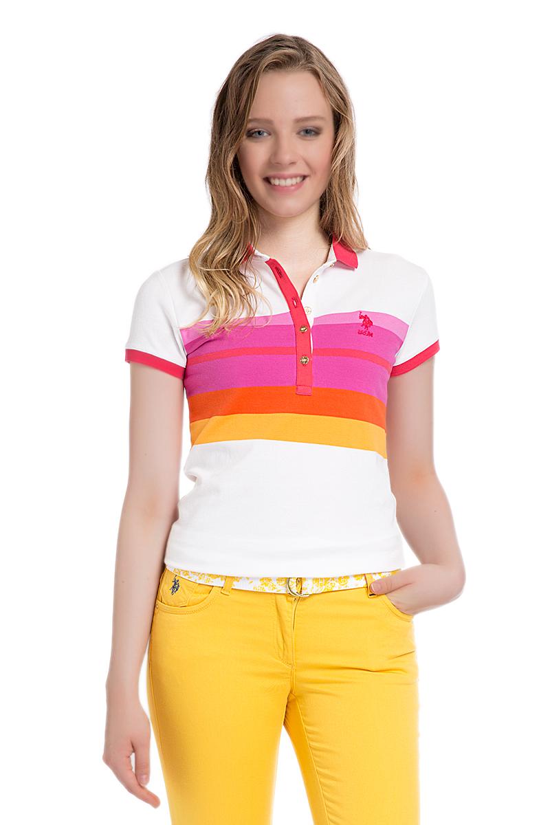 Поло женское U.S. Polo Assn., цвет: белый, розовый. G082SZ0110MASSIMA. Размер XL (50)G082SZ0110MASSIMAСтильная футболка-поло с короткими рукавами и отложным воротником выполнена из натурального эластичного хлопка. На груди модель застегивается на пуговицы.