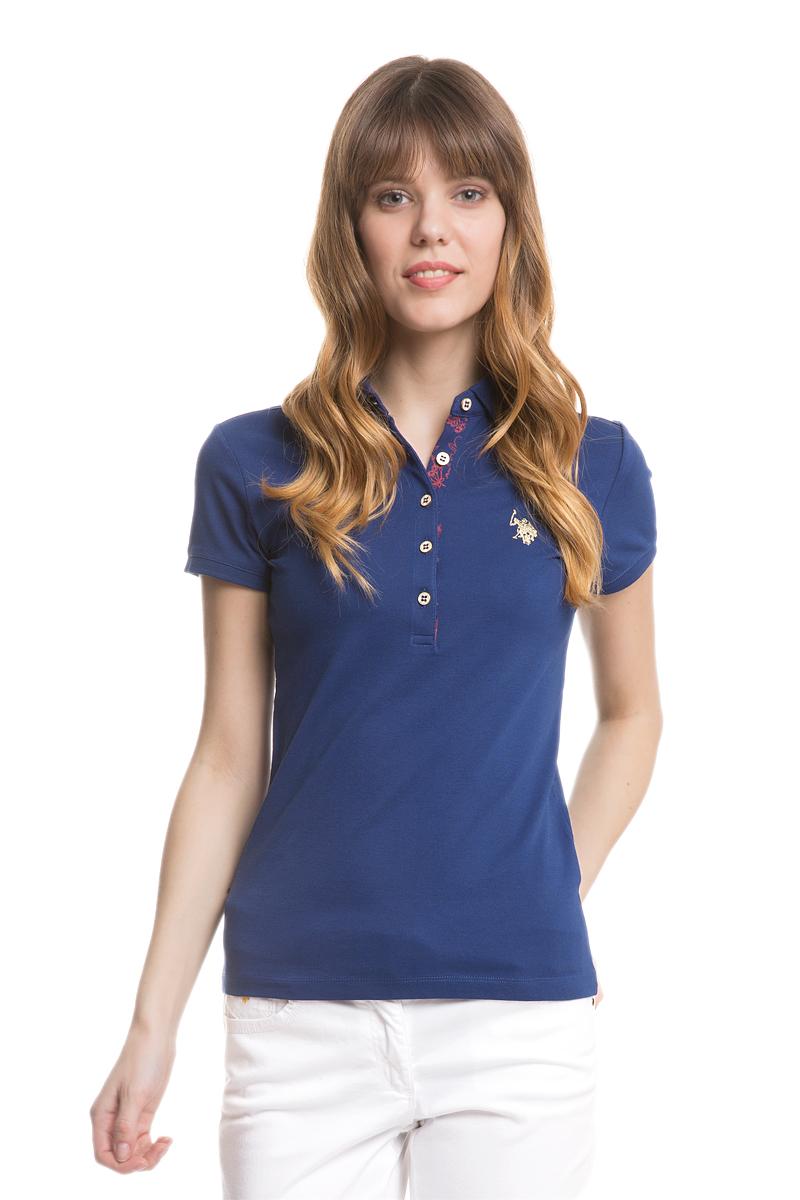 Поло женское U.S. Polo Assn., цвет: синий. G082SZ0110RP01IY05-011. Размер XXS (40)G082SZ0110RP01IY05-011Стильная футболка-поло с короткими рукавами и отложным воротником выполнена из натурального эластичного хлопка. На груди модель застегивается на пуговицы.