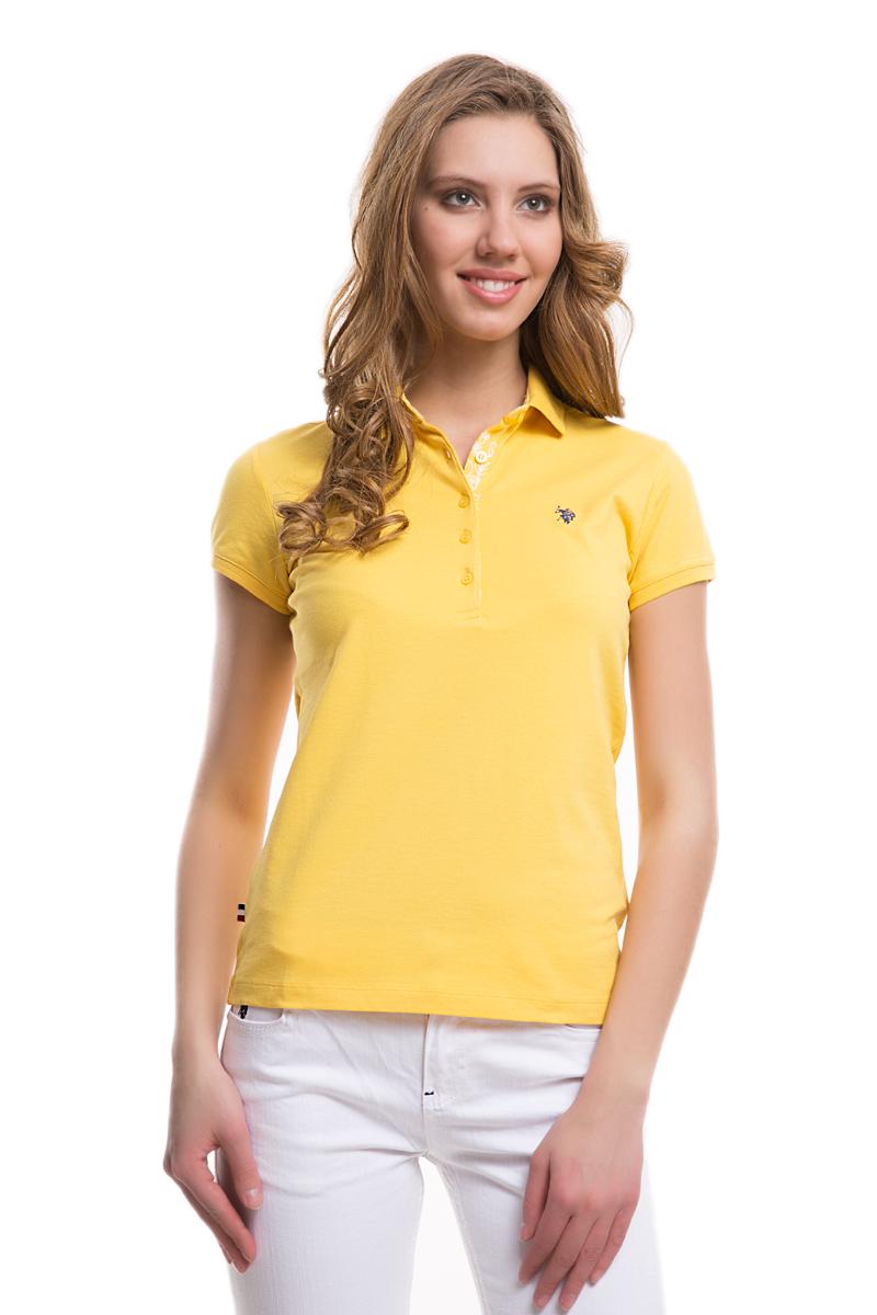 Поло женское U.S. Polo Assn., цвет: желтый. G082SZ0110TP01IY05-011. Размер M (46)G082SZ0110TP01IY05-011Стильная футболка-поло с короткими рукавами и отложным воротником выполнена из натурального эластичного хлопка. На груди модель застегивается на пуговицы.