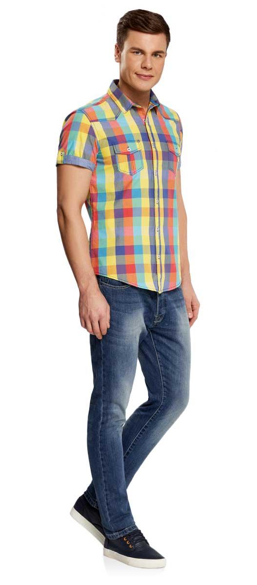 Рубашка3L410066M/39680N/1900CРубашка в клетку с коротким рукавом приталенная