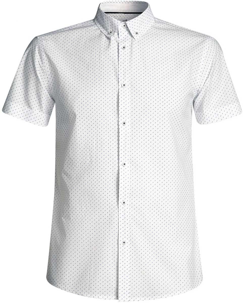 Рубашка мужская oodji Lab, цвет: белый, синий. 3L410095M/39312N/1075G. Размер XL-182 (56-182)3L410095M/39312N/1075GМужская рубашка от oodji выполнена из натурального хлопка. Модель с короткими рукавами застегивается на пуговицы.