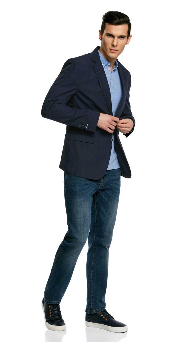 Пиджак мужской oodji Lab, цвет: темно-синий. 2L420187M/23322N/7900O. Размер 54-182 (54-182)2L420187M/23322N/7900OМужской пиджак от oodji выполнен из натурального хлопка. Модель с карманами, лацканами и длинными рукавами застегивается на пуговицы. Лацканы с декором.