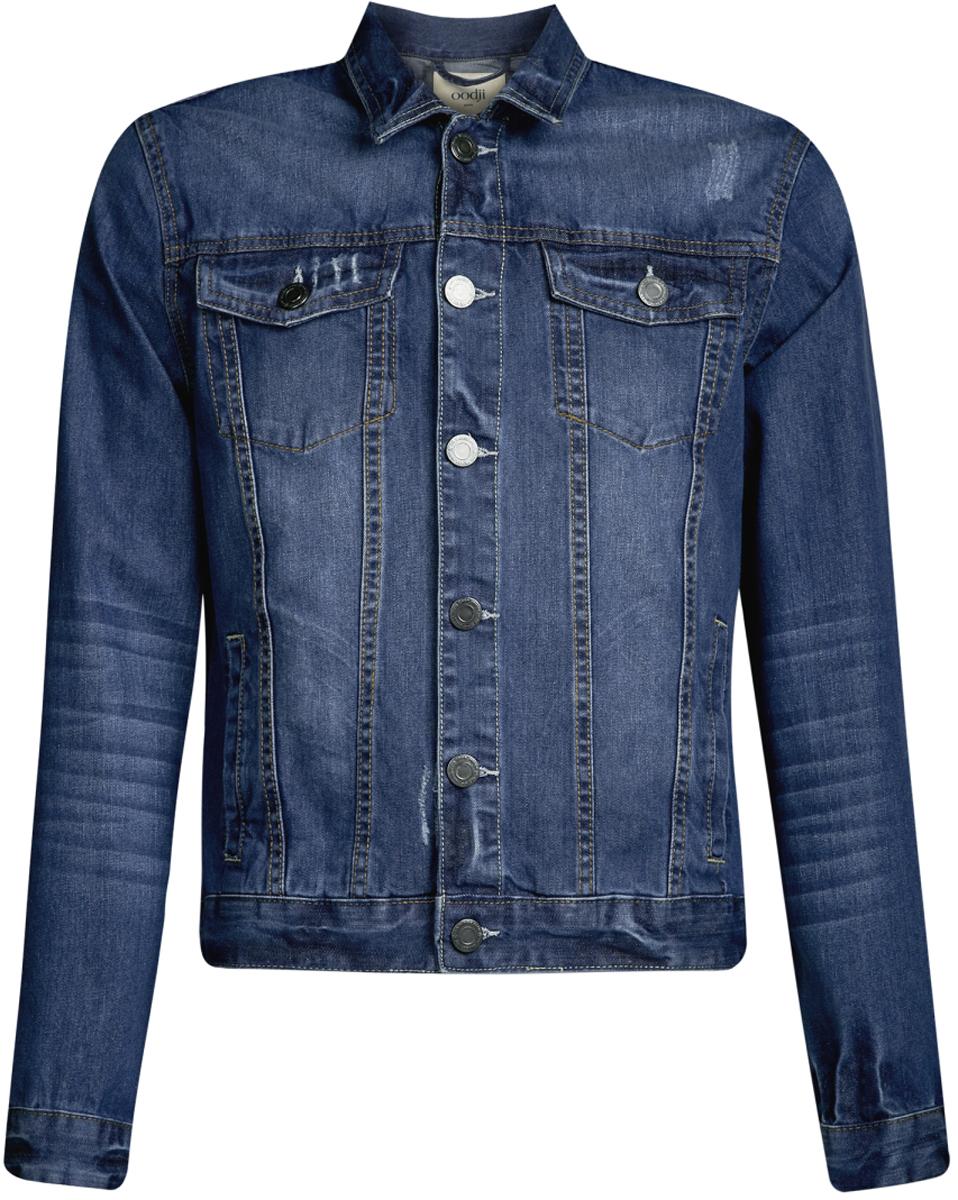 Куртка6L300005M/35771/7500WМужская джинсовая куртка oodji Lab выполнена из высококачественного материала. Модель застегивается на пуговицы. Спереди расположено два прорезных кармана и два накладных с клапанами на пуговицах.