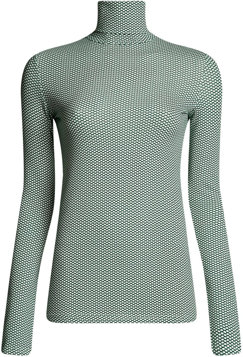 Водолазка женская oodji Ultra, цвет: темно-изумрудный, белый. 15E02001B/46147/6E12G. Размер S (44)15E02001B/46147/6E12GБазовая женская водолазка oodji Ultra выполнена из эластичной хлопковой ткани. У модели воротник-гольф и стандартные длинные рукава.
