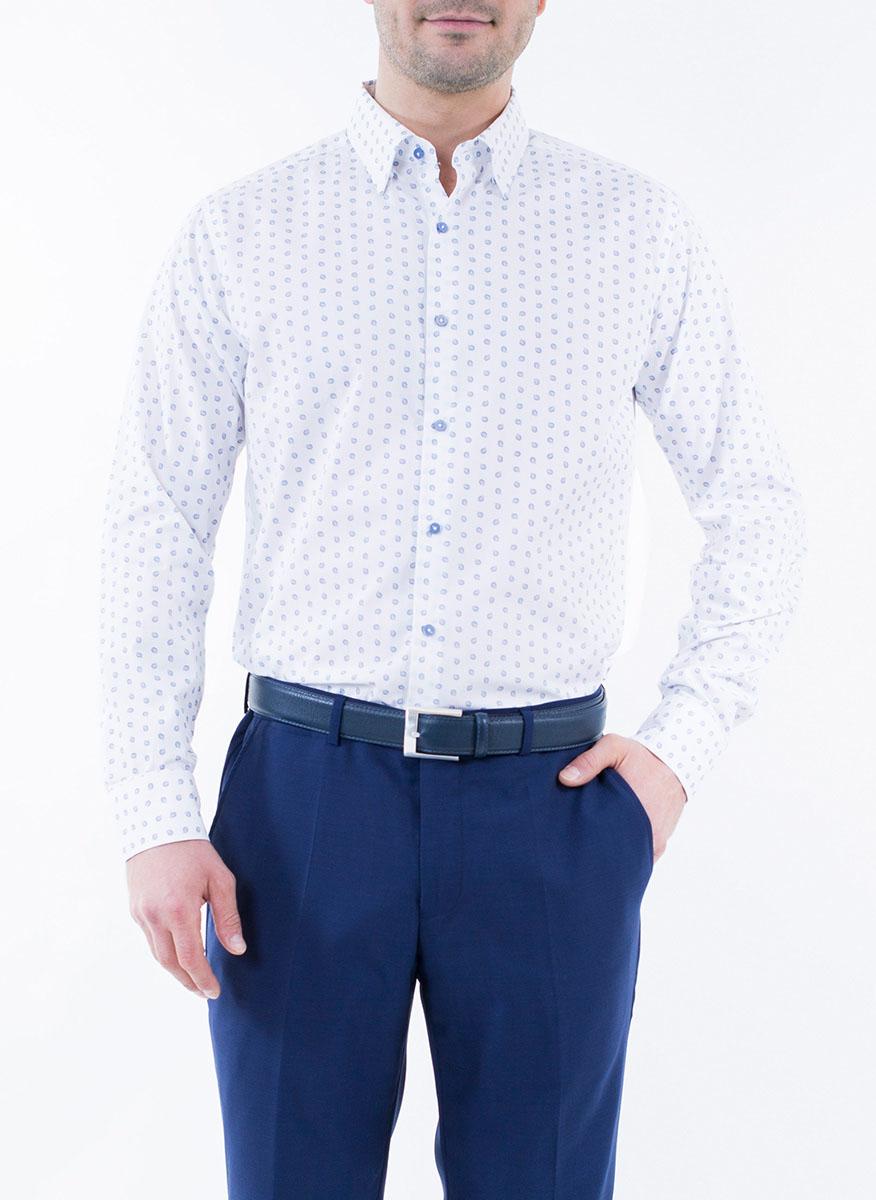Рубашка мужская Alfred Muller, цвет: белый, синий. 1-171-04-1343. Размер 40 (48)1-171-04-1343Мужская рубашка Alfred Muller выполнена из 100% хлопка. Имеет отложной воротничок и длинные рукава. Застегивается на пластиковые пуговицы спереди и на манжетах. Изнутри подшиты две запасные пуговицы. Рубашка оформлена принтом с пейсли.