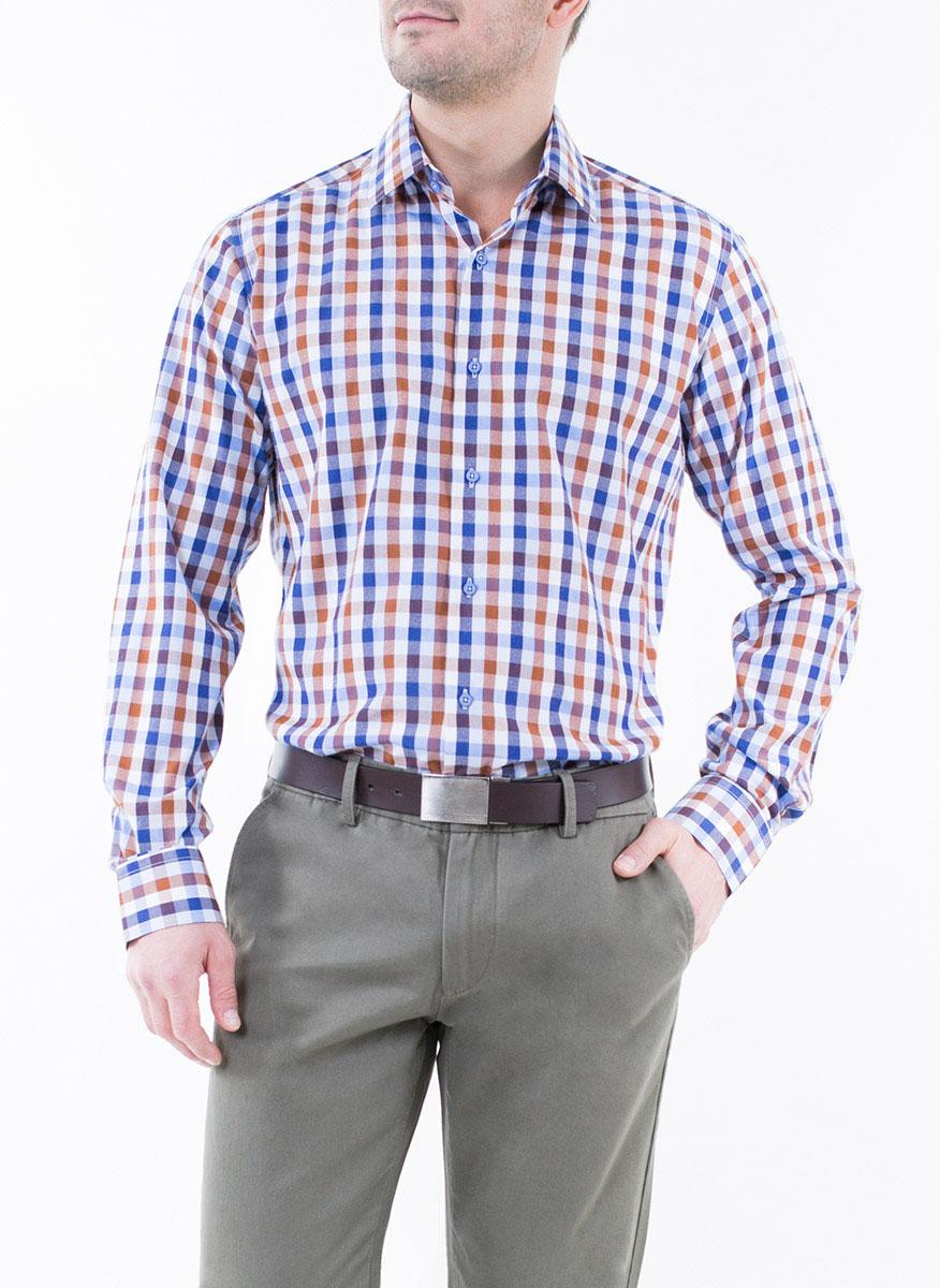 Рубашка2-171-20-1386Мужская рубашка Greg Horman выполнена из хлопка с добавлением полиэстера. Модель полуприталенного силуэта с отложным воротником и длинными рукавами оформлена принтом в клетку. Изделие застегивается по всей длине на пуговицы, украшенные символикой бренда. Манжеты рукавов также застегиваются на пуговицы. Удобный крой, выверенный силуэт и безупречное исполнение делает эту рубашку уникальным решением для стильных образов и незаменимым атрибутом мужского гардероба.
