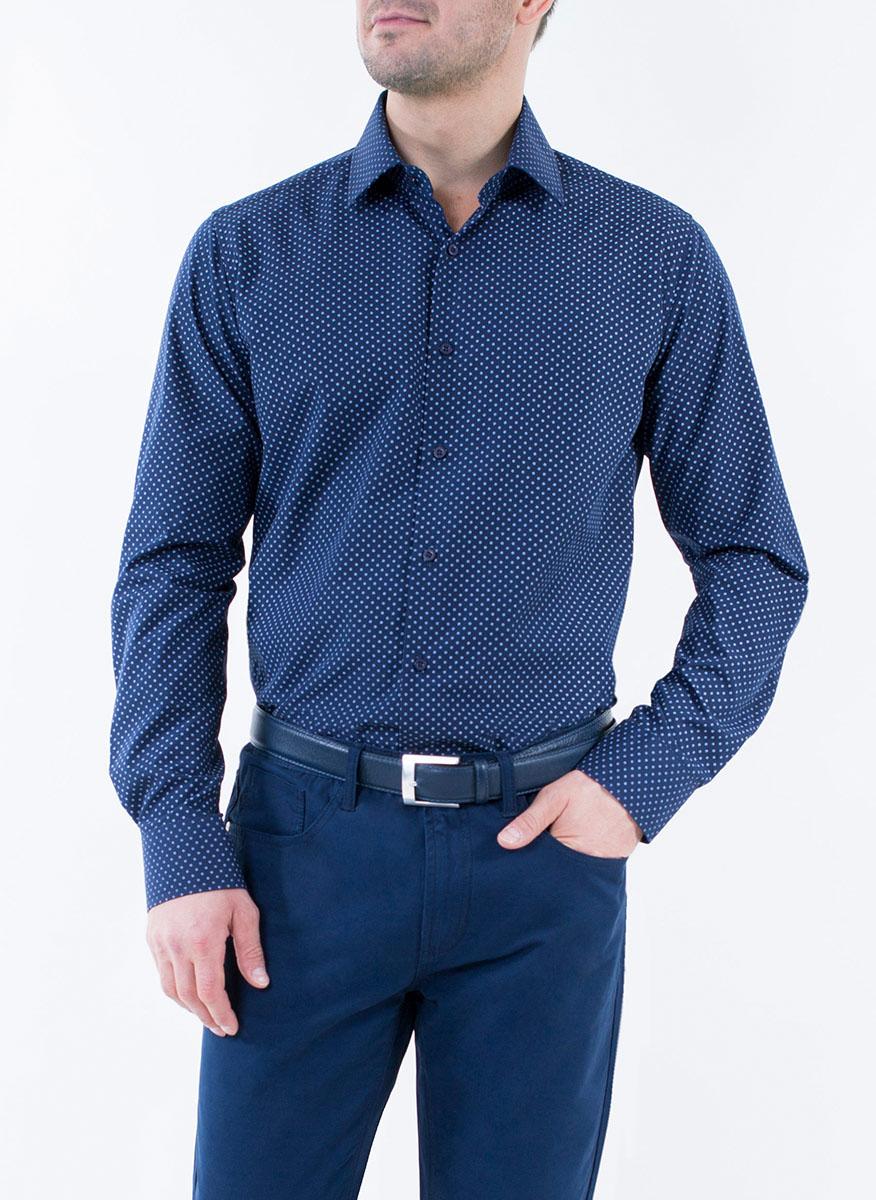 Рубашка2-171-20-1392Мужская рубашка Greg Horman выполнена из хлопка с добавлением полиэстера. Модель полуприталенного силуэта с отложным воротником и длинными рукавами оформлена мелким принтом. Изделие застегивается по всей длине на пуговицы, украшенные символикой бренда. Манжеты рукавов также застегиваются на пуговицы. Удобный крой, выверенный силуэт и безупречное исполнение делает эту рубашку уникальным решением для стильных образов и незаменимым атрибутом мужского гардероба.