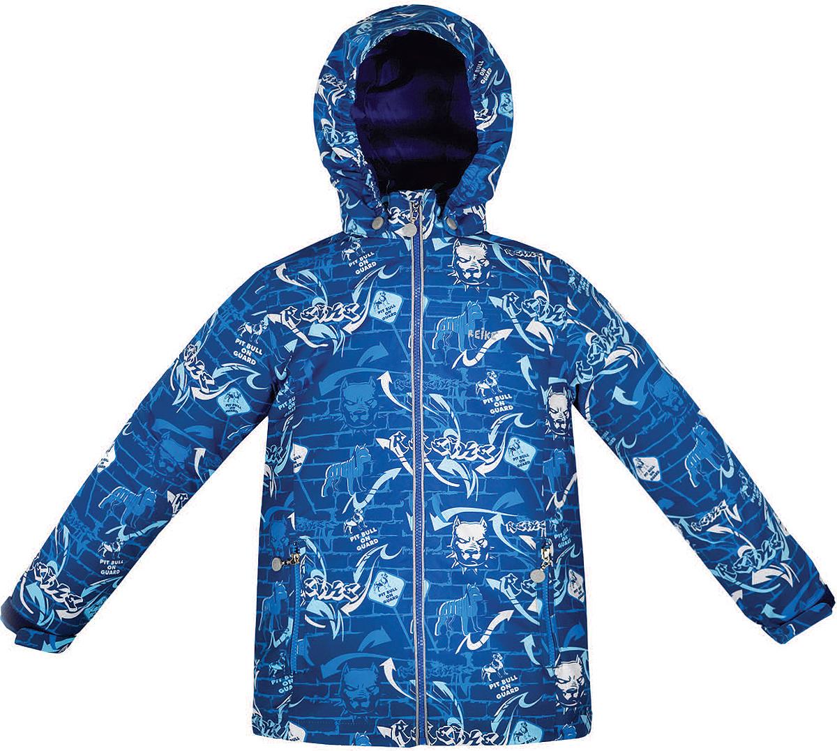 Куртка36 941 220_Pitbull blueСтильная куртка для мальчика Reike Питбуль выполнена из ветрозащитного, водоотталкивающего и дышащего мембранного материала с подкладкой из микрофлиса. Модель с воротником-стойкой, защищающим от ветра, застегивается на молнию с защитой подбородка и оформлена молодежным принтом в стиле серии. Манжеты рукавов на резинке дополнительно регулируются с помощью липучек. Модель дополнена съемным капюшоном, утянутым резинкой, двумя прорезными карманами на молниях и светоотражающими элементами на спине. Особенности изделия: - базовый уровень; - коэффициент воздухопроницаемости: 2000гр/м2/24 ч; - водоотталкивающее покрытие: 2000 мм.