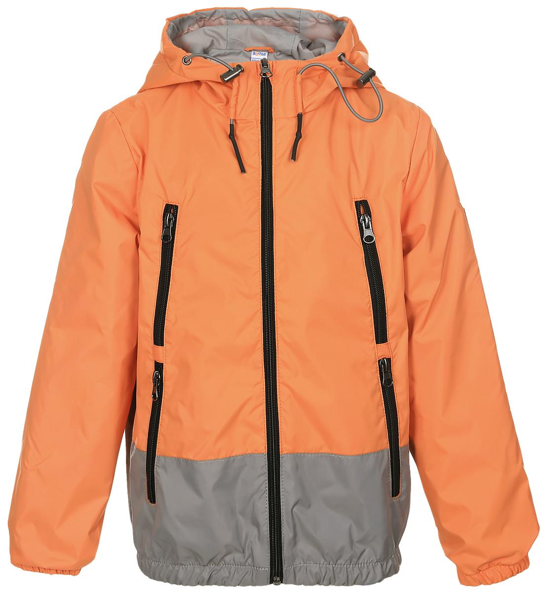 Куртка70038_BOB_вар.1Легкая куртка для мальчика Boom! c длинными рукавами и несъемным капюшоном выполнена из прочного полиэстера. Модель застегивается на застежку-молнию спереди. Объем капюшона регулируется при помощи шнурка-кулиски со стопперами. Изделие имеет четыре прорезных кармана на застежках-молниях спереди. Рукава оснащены широкими эластичными манжетами. Модель растет вместе с ребенком: специальный крой позволяет при необходимости увеличить длину рукавов на один размер.