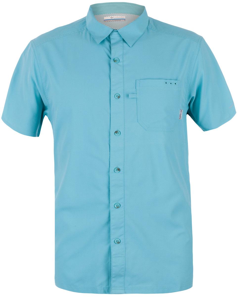 Рубашка мужская Columbia Slack Tide Camp Shirt, цвет: бирюзовый. 1577051-909. Размер S (44/46)1577051-909Мужская рубашка Columbia с коротким рукавом выполнена из синтетического быстросохнущего материала. Изделие прямого кроя, имеется нагрудный накладной карман. Технология Omni-Wick быстро впитает влагу и отведет ее от тела, а технология Omni-Sahde UPF 50 защищает от UV лучей. Прекрасный вариант для активного отдыха в жаркое время года.