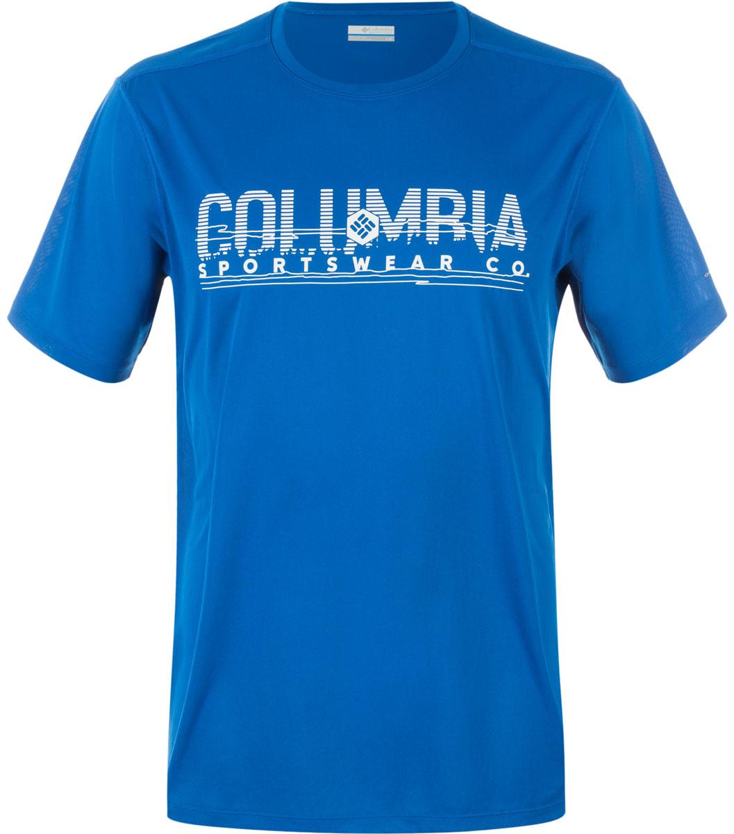 Футболка мужская Columbia Tech Trek Graphic SS Shirt T-shirt, цвет: синий. 1711801-438. Размер L (48/50)1711801-438Мужская футболка Columbia изготовлена из высококачественного быстросохнущего полиэстера. Футболка с круглым вырезом горловины и короткими рукавами незаменима для занятий спортом. Крупный принт на груди придает изделию оригинальность.