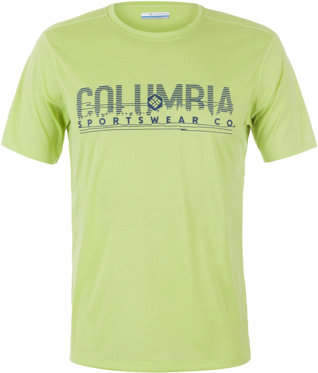 Футболка1711801-100Мужская футболка Columbia изготовлена из высококачественного быстросохнущего полиэстера. Футболка с круглым вырезом горловины и короткими рукавами незаменима для занятий спортом. Крупный принт на груди придает изделию оригинальность.