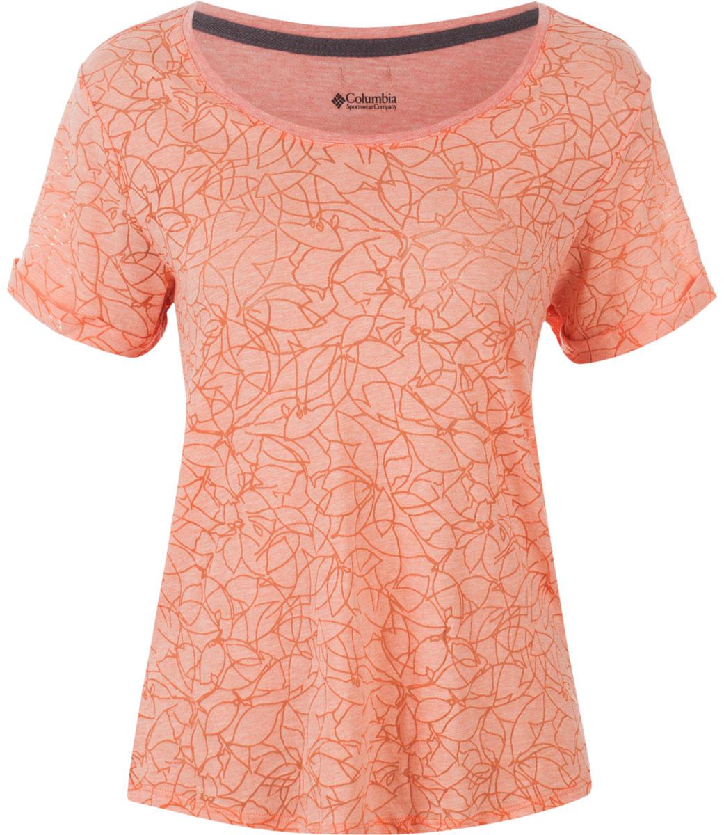 Футболка1712031-341Стильная женская футболка Columbia изготовлена из высококачественных материалов с оригинальной текстурой. Футболка с круглым вырезом горловины и короткими рукавами оформлена оригинальным принтом.