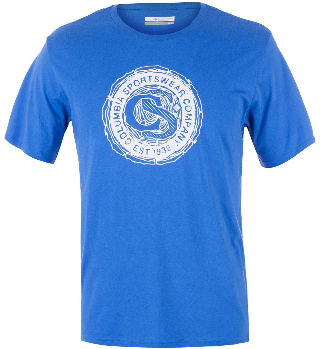 Футболка мужская Columbia Carved Ridge SS T-shirt, цвет: синий. 1713461-426. Размер M (46/48)1713461-426Футболка Columbia - оптимальный вариант для активного отдыха и повседневного использования. Модель выполнена из хлопка, что обеспечивает максимально комфортные ощущения во время использования. Крупный принт на груди придает изделию оригинальность.