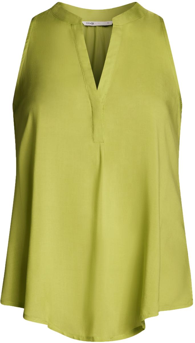 Блузка женская oodji Ultra, цвет: зеленый. 11411105B/39658N/6A00N. Размер 34-170 (40-170)11411105B/39658N/6A00NБлузка женская oodji Ultra выполнена из высококачественного материала. Модель свободного кроя с V-вырезом горловины.