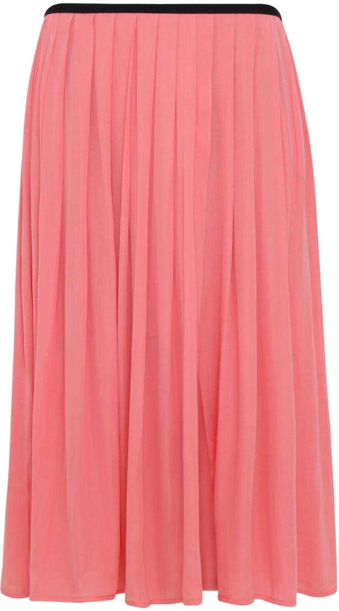 Юбка oodji Ultra, цвет: коралловый. 11600379/42662/4300N. Размер 38-170 (44-170)11600379/42662/4300NЛегкая юбка на эластичном поясе с запахом выпонена из высококачественного материала.