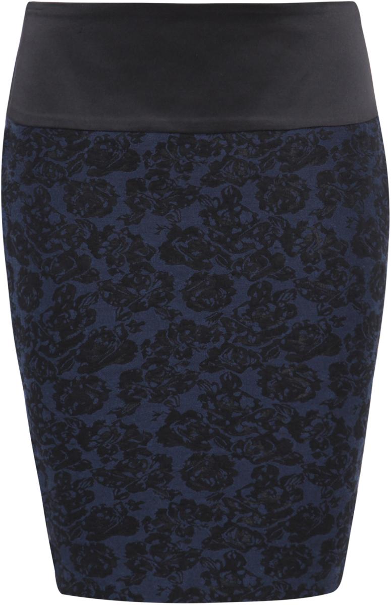 Юбка oodji Ultra, цвет: черный, темно-синий. 11602170-1/22098/2979J. Размер 34-170 (40-170)11602170-1/22098/2979JМодная юбка-карандаш облегающего силуэта выполнена из высококачественного материала. На поясе юбка дополнена вставкой из искусственной кожи. Сзади модель застегивается на металлическую застежку-молнию.