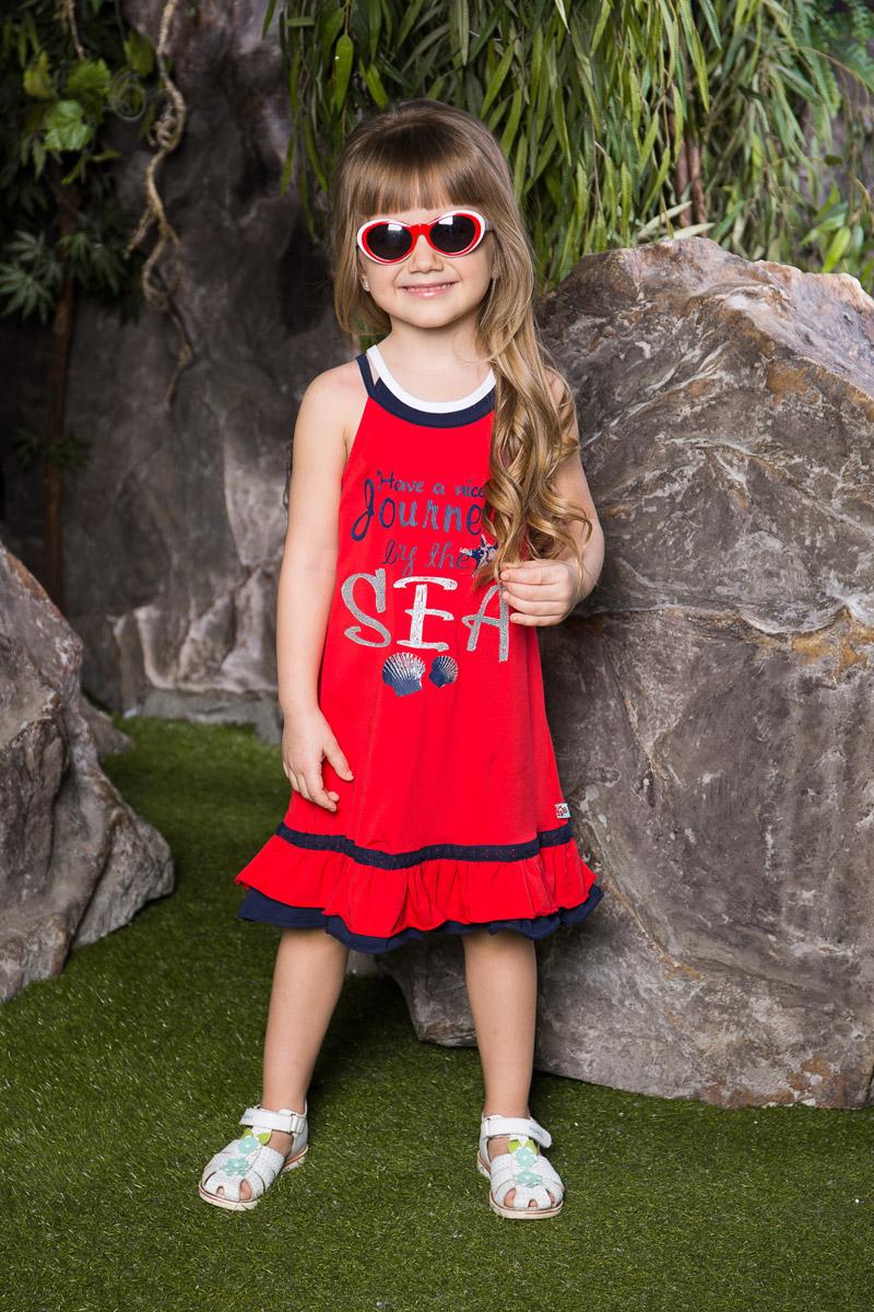 Платье714090Яркое платье для девочки Sweet Berry на двойных контрастных бретельках выполнено из эластичного хлопка и оформлено модным принтом. Модель А-силуэта средней длины по низу дополнена двухслойным воланом и контрастной ажурной нашивкой.