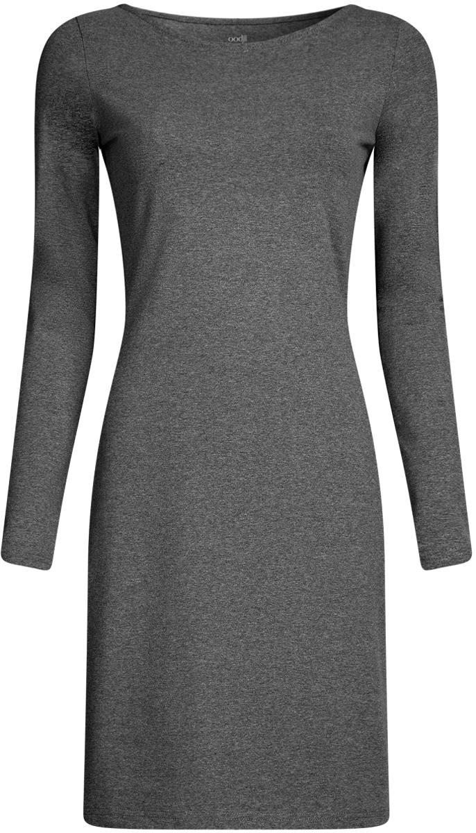 Платье14001183B/46148/7500NПлатье oodji Ultra облегающего силуэта выполнено из эластичного хлопка. Модель средней длины с круглым вырезом горловины и длинными рукавами выгодно подчеркивает достоинства фигуры.