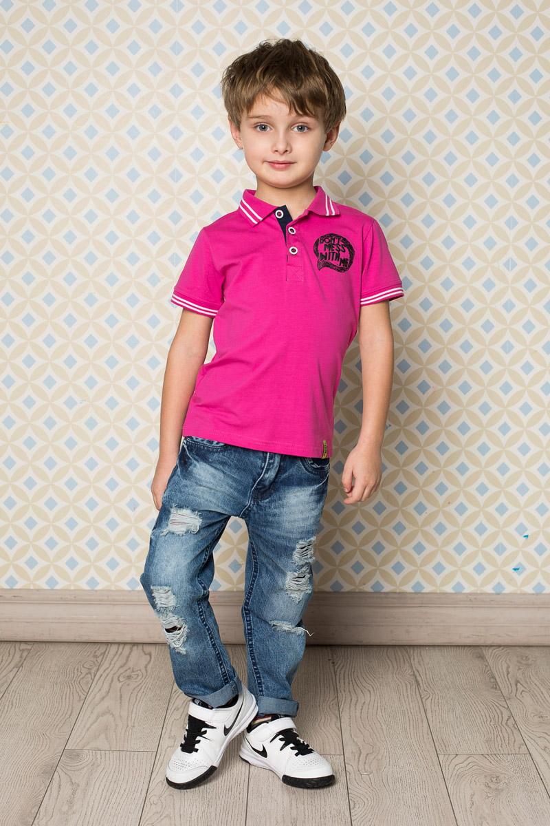 Поло713116Стильная футболка-поло для мальчика Sweet Berry, выполненная из качественного эластичного хлопка, станет отличным дополнением к детскому гардеробу. Модель свободного кроя застегивается на пуговицы и оформлена оригинальным принтом. Классический отложной воротничок и манжеты рукавов оформлены контрастными полосками.