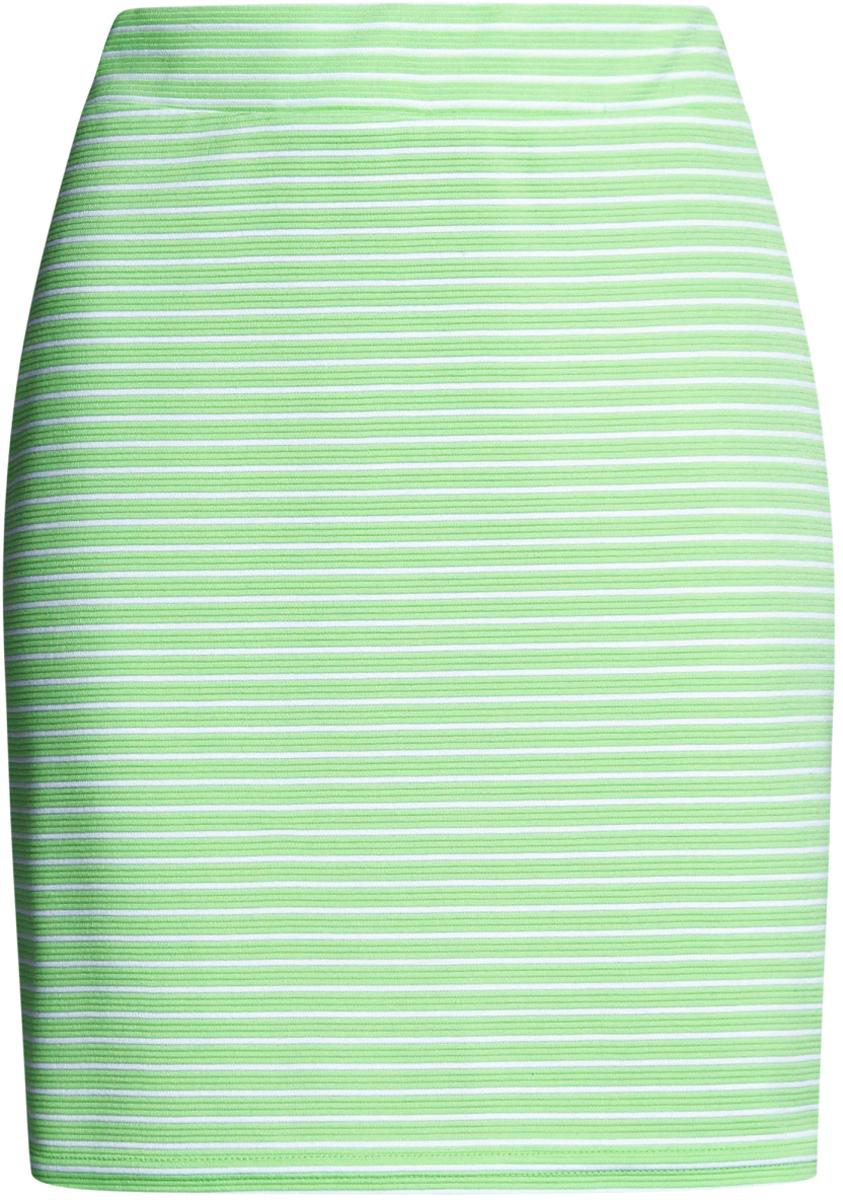 Юбка oodji Ultra, цвет: зеленый, белый. 14101001-2B/46674/6A10S. Размер XXS (40)14101001-2B/46674/6A10SМодная мини-юбка выполнена из высококачественного трикотажа. Модель оформлена принтом в полоску.