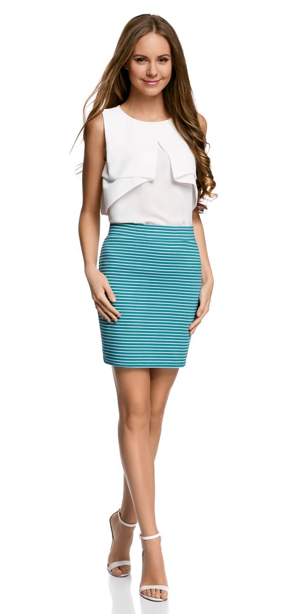 Юбка14101001-2B/46674/4110SМодная мини-юбка выполнена из высококачественного трикотажа. Модель оформлена принтом в полоску.