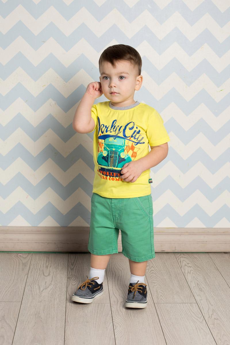 Футболка для мальчика Sweet Berry Baby, цвет: желтый. 711004. Размер 86711004Яркая футболка для мальчика Sweet Berry, выполненная из качественного эластичного хлопка, станет отличным дополнением к детскому гардеробу. Модель с круглым вырезом горловины оформлена оригинальным принтом. Воротник дополнен мягкой трикотажной резинкой контрастного цвета.