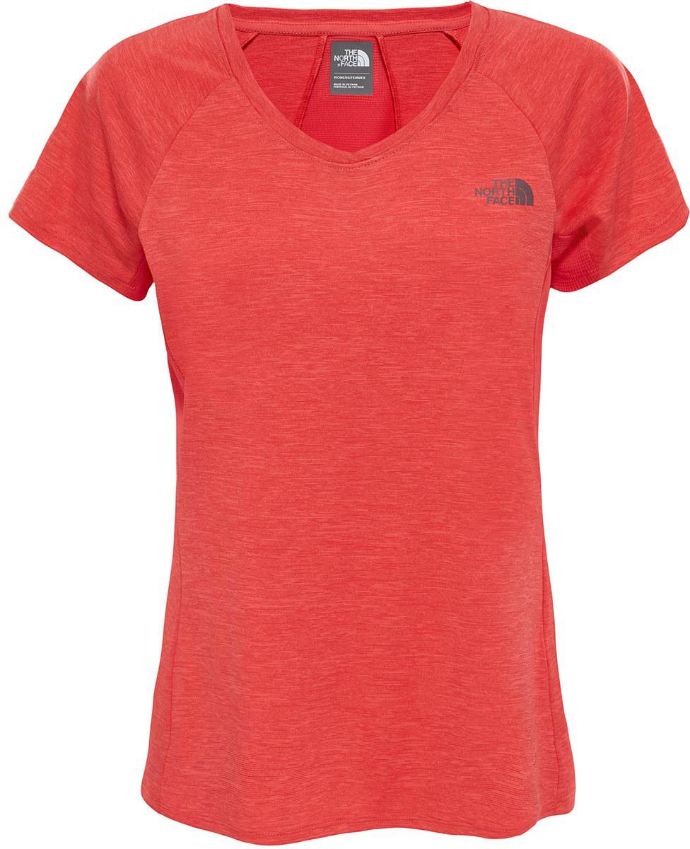 Футболка для бега женская The North Face W Initiative S/S, цвет: красный. T92UXZQBF. Размер M (44/46)T92UXZQBFЖенская футболка The North Face - отличный вариант для каждодневного использования. У модели укороченные рукава и женственный V-образный вырез.