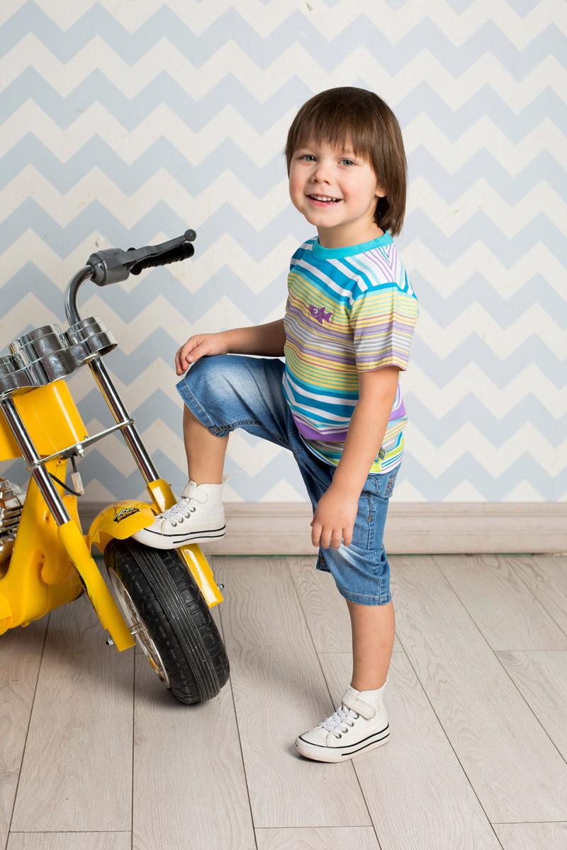 Футболка для мальчика Sweet Berry Baby, цвет: белый, голубой, желтый, сиреневый. 711041. Размер 92711041Яркая футболка для мальчика Sweet Berry, выполненная из качественного эластичного хлопка, станет отличным дополнением к детскому гардеробу. Модель с круглым вырезом горловины оформлена оригинальным принтом в полоску. Воротник дополнен мягкой трикотажной резинкой.