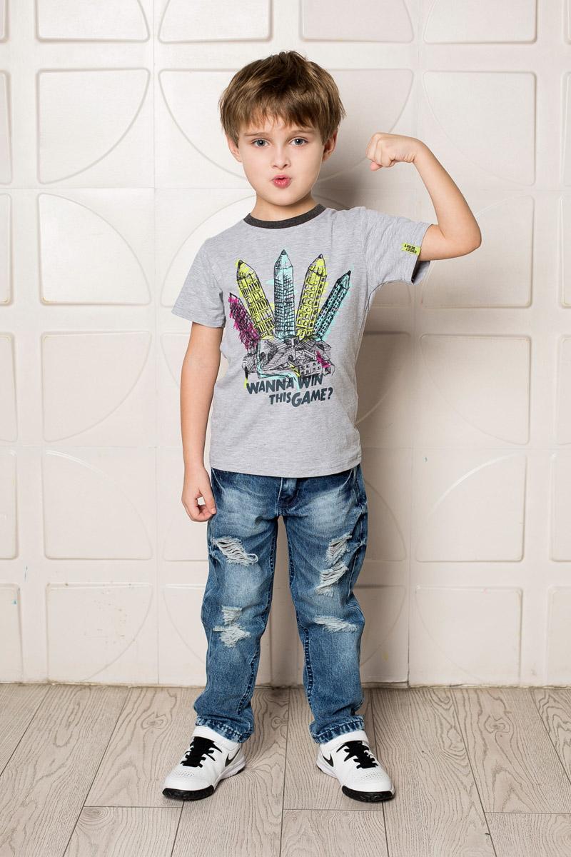 Футболка713110Яркая футболка для мальчика Sweet Berry, выполненная из качественного эластичного хлопка, станет отличным дополнением к детскому гардеробу. Модель с круглым вырезом горловины оформлена оригинальным принтом. Воротник дополнен мягкой трикотажной резинкой контрастного цвета.