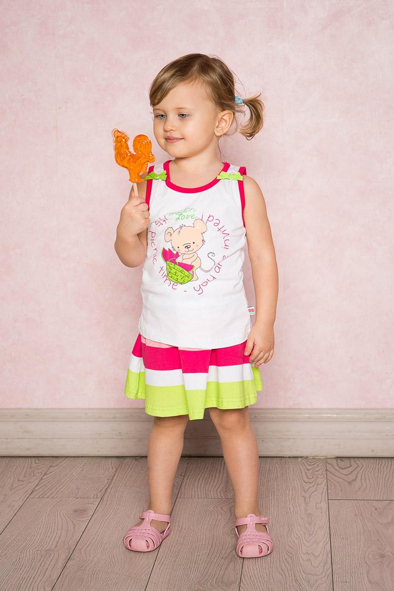 Юбка712095Яркая юбка-солнце для девочки Sweet Berry выполнена из качественного эластичного хлопка в широкую полоску. Пояс собран на мягкую резинку и декорирован бантиком.