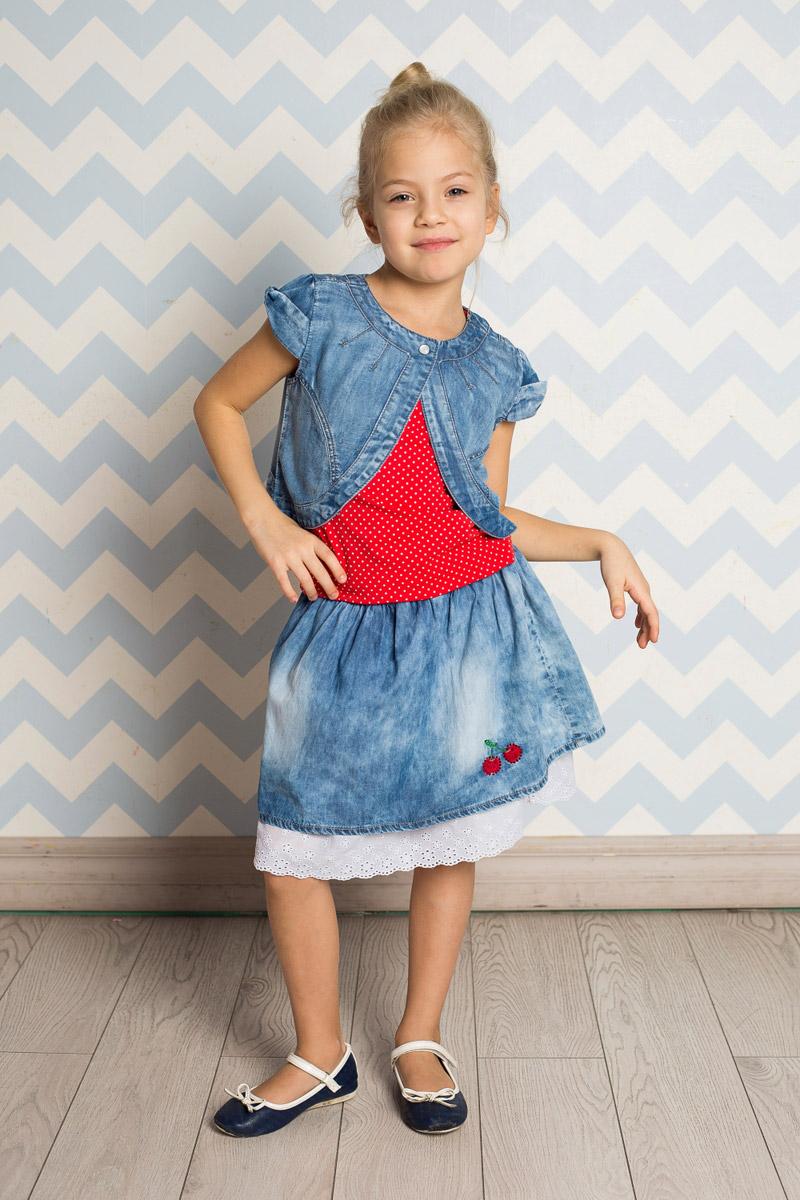 Юбка714174Стильная юбка для девочки Sweet Berry выполнена из мягкого джинсового материала с эффектом потертостей и оформлена вышивкой со стразами. Модель средней длины дополнена контрастной вставкой по низу. Пояс собран на мягкую эластичную резинку.