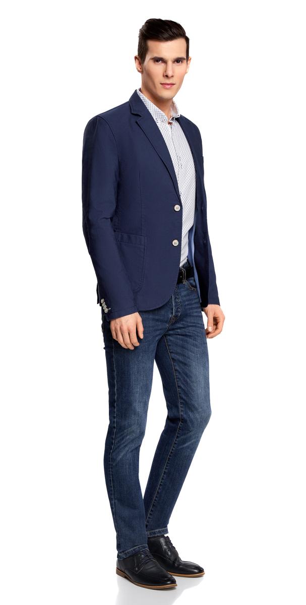 Пиджак мужской oodji Basic, цвет: синий. 2B510005M/39355N/7500N. Размер 54-182 (54-182)2B510005M/39355N/7500NМужской пиджак от oodji выполнен из натурального хлопка. Модель с накладными карманами, лацканами и длинными рукавами застегивается на пуговицы.