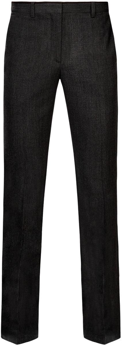 Брюки мужские oodji Lab, цвет: темно-серый, черный. 2L200162M/44435N/2529B. Размер 48-182 (56-182)2L200162M/44435N/2529BМужские брюки oodji Lab выполнены из полиэстера с добавлением вискозы. Модель Slim застегивается на крючок в поясе, внутреннюю пуговицу и ширинку на молнии. Имеются шлевки для ремня. Спереди расположены два втачных кармана, сзади - два прорезных кармана.Изделие оформлено стрелками.