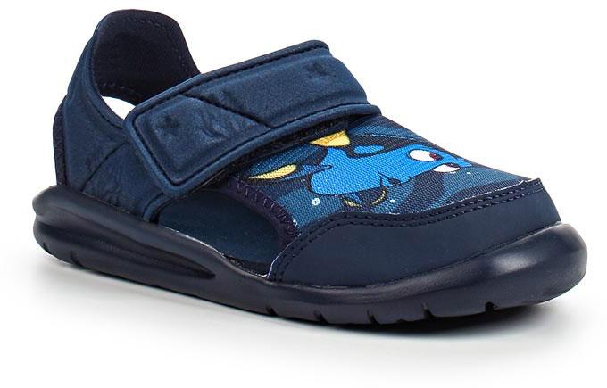 Сандалии для мальчика adidas Disney Nemo FortaSw, цвет: темно-синий. BA9334. Размер 24BA9334В этих очаровательных пляжных сандаликах с осьминогом Хэнком из мультфильма В поисках Дори малышам будет удобно играть у бассейна или на берегу моря. Текстильная подкладка обеспечивает комфорт маленьким ножкам, а мягкие ремешки на липучке облегчают надевание и снимание.