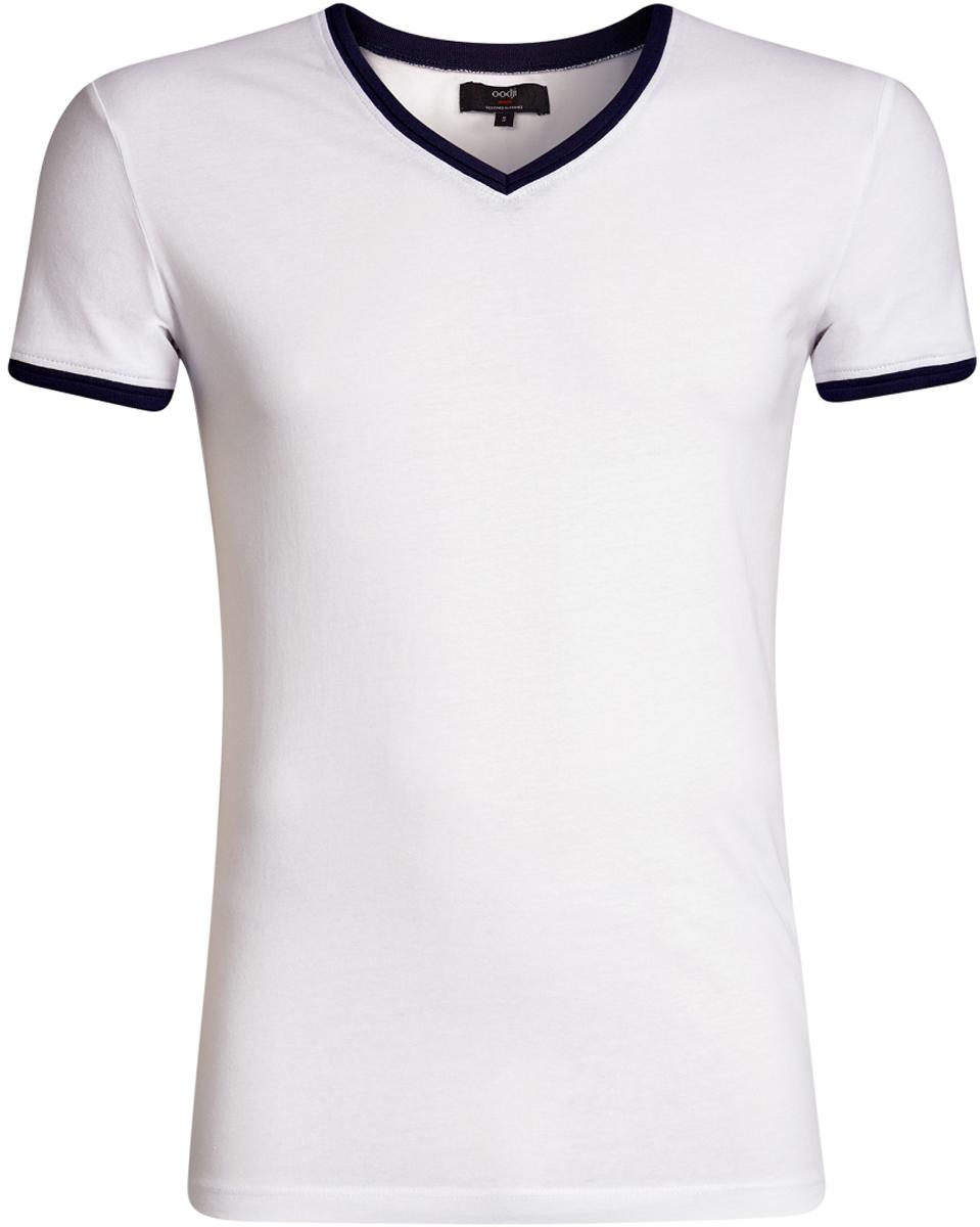 Футболка5L612017M/39485N/7925BСтильная футболка от oodji с V-образным вырезом и короткими рукавами выполнена из натурального хлопка. Модель декорирована контрастной отделкой.