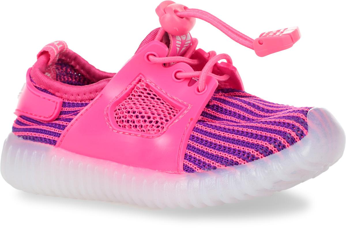 Кроссовки детские Мифер, цвет: розовый, фиолетовый. 7710F. Размер 257710FКроссовки Мифер выполнены из текстиля с элементами из резины и оформлены принтом в полоску. На ноге модель фиксируется с помощью эластичного шнурка со стоппером. Внутренняя поверхность из текстиля комфортна при движении. Стелька выполнена из легкого ЭВА-материала с поверхностью из искусственной кожи. Стелька дополнена супинатором с перфорацией, который обеспечивает правильное положение стопы ребенка при ходьбе и предотвращает плоскостопие. Подошва изготовлена из ТЭП-материала и дополнена рифлением.