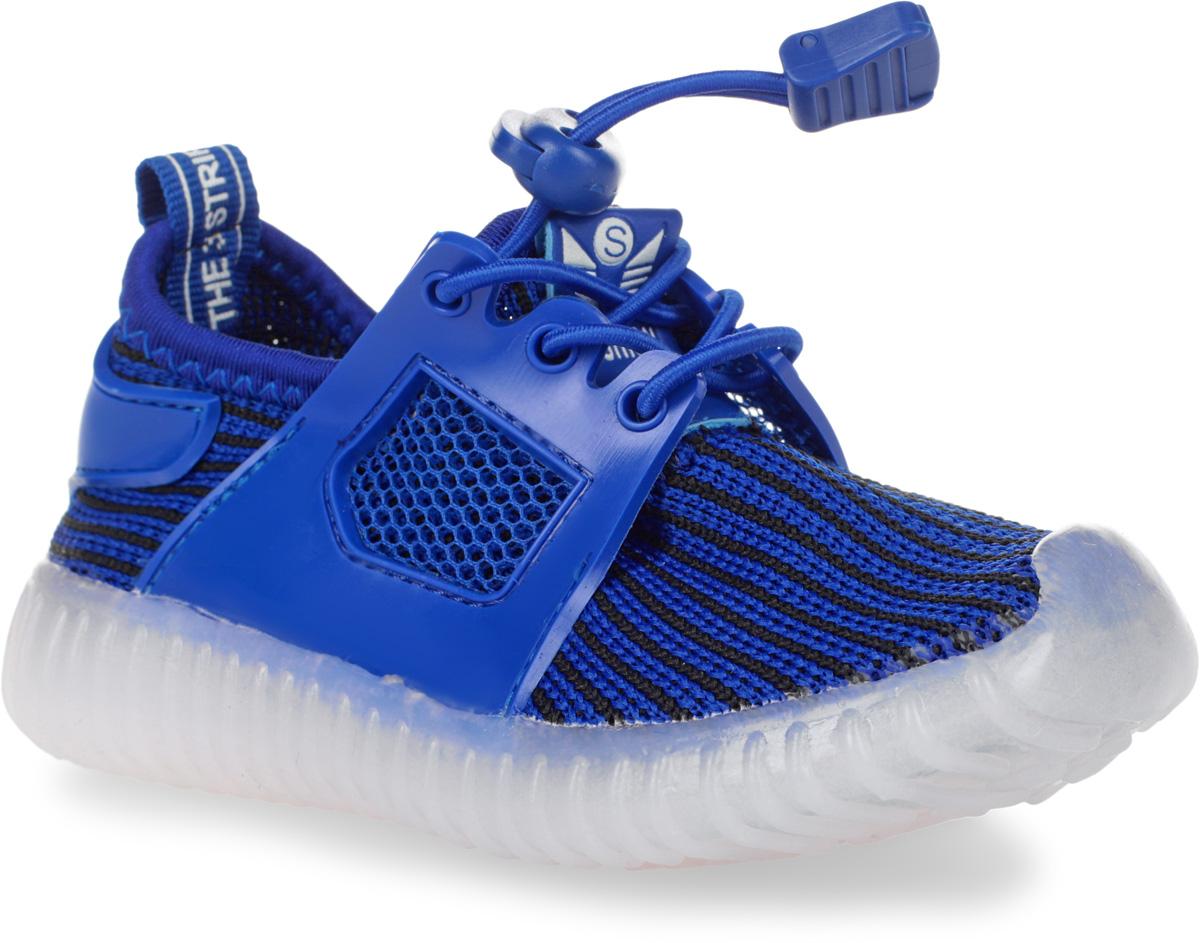 Кроссовки детские Мифер, цвет: синий, черный. 7710F. Размер 227710FКроссовки Мифер выполнены из текстиля с элементами из резины и оформлены принтом в полоску. На ноге модель фиксируется с помощью эластичного шнурка со стоппером. Внутренняя поверхность из текстиля комфортна при движении. Стелька выполнена из легкого ЭВА-материала с поверхностью из искусственной кожи. Стелька дополнена супинатором с перфорацией, который обеспечивает правильное положение стопы ребенка при ходьбе и предотвращает плоскостопие. Подошва изготовлена из ТЭП-материала и дополнена рифлением.