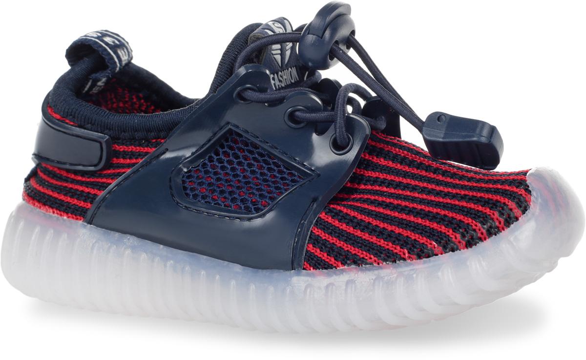 Кроссовки детские Мифер, цвет: темно-синий, красный. 7710F. Размер 227710FКроссовки Мифер выполнены из текстиля с элементами из резины и оформлены принтом в полоску. На ноге модель фиксируется с помощью эластичного шнурка со стоппером. Внутренняя поверхность из текстиля комфортна при движении. Стелька выполнена из легкого ЭВА-материала с поверхностью из искусственной кожи. Стелька дополнена супинатором с перфорацией, который обеспечивает правильное положение стопы ребенка при ходьбе и предотвращает плоскостопие. Подошва изготовлена из ТЭП-материала и дополнена рифлением.