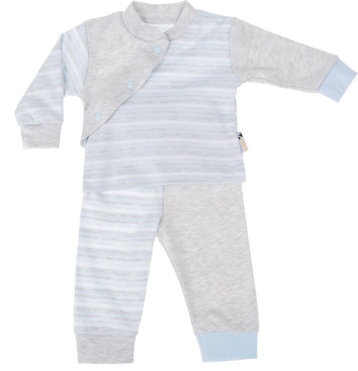 Комплект детский Клякса: кофточка, брюки, цвет: голубой, светло-серый, белый. 39К-5222. Размер 6239К-5222Детский комплект Клякса состоит из кофточки и штанишек. Комплект изготовлен из качественного натурального хлопка. Кофта с длинными рукавами и воротником-стойкой застегивается спереди на три кнопки. Штанишки имеют широкую эластичную резинку на поясе и широкие манжеты.