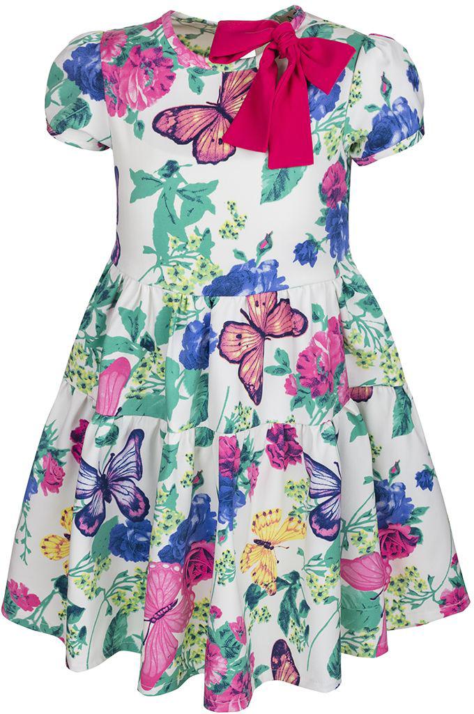 Платье для девочки M&D, цвет: белый, мультиколор. SWD27015M77. Размер 98SWD27015M77Платье M&D выполнено из вискозы, полиэстера и лайкры. Модель с круглым вырезом горловины и коротким рукавом-фонариком оформлена ярким цветочным принтом. Платье застегивается сзади на пуговицу и имеет завязки.
